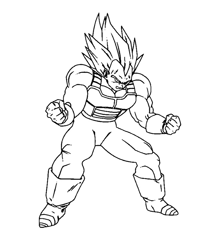 coloriage dragon ball z vegeta